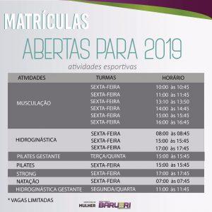 cartaz com informações das Atividades Esportivas da Secretaria da Mulher de Barueri para o ano de 2019