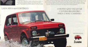 reprodução de uma propaganda do jipe 4x4 Niva, da Lada