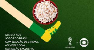 cartaz de divulgação da transmissão dos jogos do Brasil na Copa do Mundo no Cinemark do Shopping Tamboré