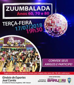 cartaz de divulgação do evento Zuumbalada anos 60, 70 e 80