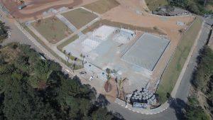 Vista aérea do Parque Jaguari em construção