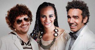 Léo Maia, Luciana Mello e Wilson Simoninha posam em foto promocional