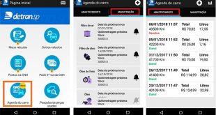 capturas de tela mostram o funcionamento do app 'Agenda do carro'