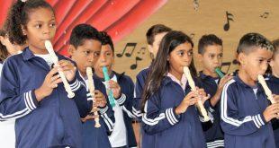 Apresentação da nova turma de flautas integrou o projeto Cultura em Movimento